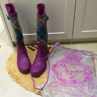 蘇格蘭帶回 Ness經典格紋雨靴 UK4號