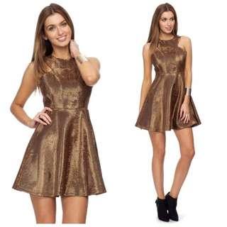 Dead Ivy Queen Of Hearts Dress - Bronze, Sz 8
