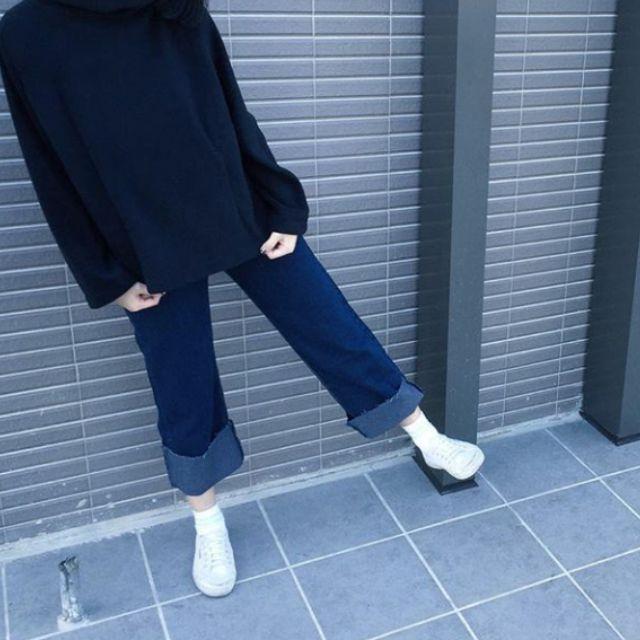 韓版牛仔反折寬褲