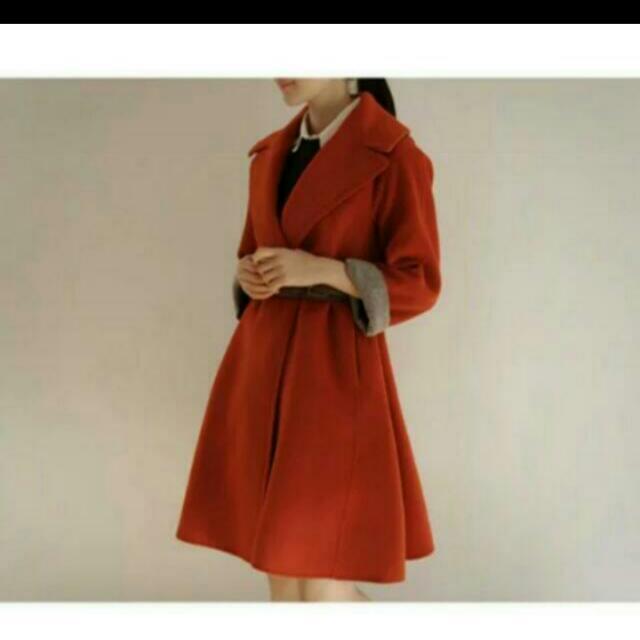 【保留中】韓國復古橘色毛呢撞色傘狀大衣外套