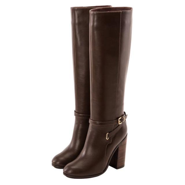 交叉踝帶釦高跟長靴 咖啡