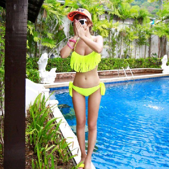 韓國版比基尼流蘇螢光維多利亞兩件式套裝泳衣