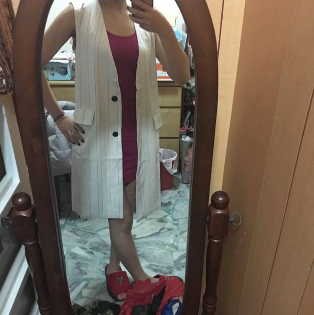 《全新》韓國 西裝布長版背心