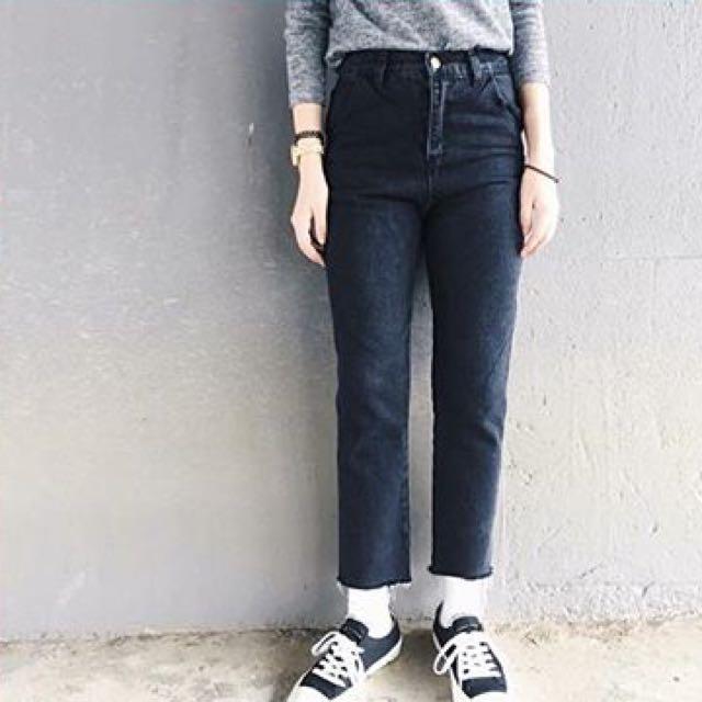 全新未下水 高腰直筒牛仔褲