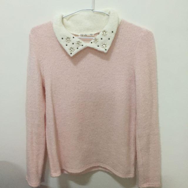 立領毛衣 針織衣 粉色
