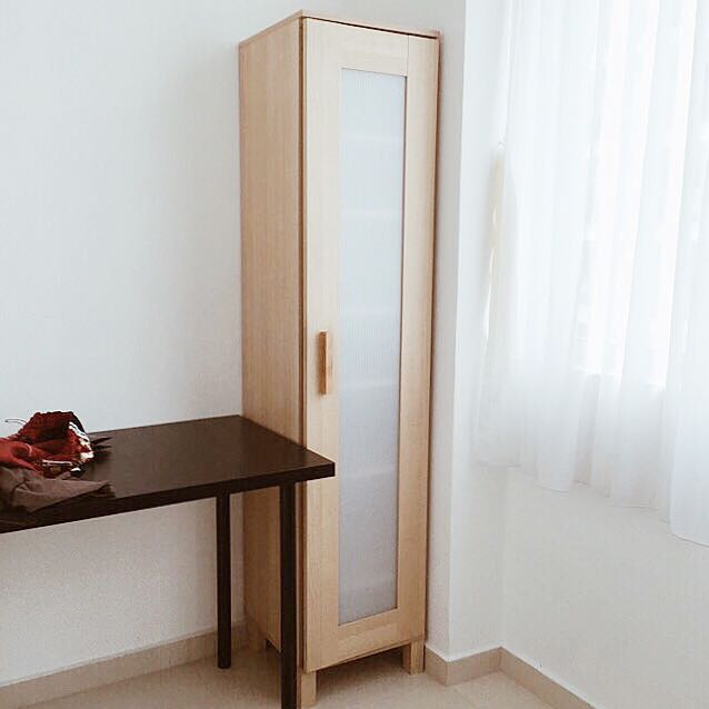 Hedendaags IKEA ANEBODA SINGLE DOOR WOODEN WARDROBE CABINET IN BIRCH NB-73