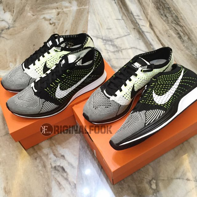 separation shoes a70a7 11dc1 INSTOCK 9.5   11 Nike Flyknit Racer Black White Volt Orca V3, Sports on  Carousell