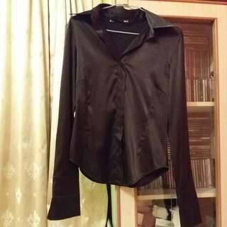MNG black silk blouse