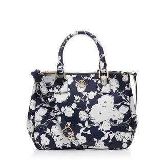 Authentic Tory Burch Small Floral Printed Robinson Double Zip Tote Bag