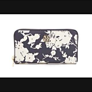 Authentic Tory Burch Blue Robinson Zip Continental Wallet