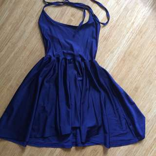 Americal Apparel navy halter disco dress
