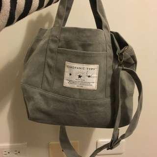 全新,梨花灰色帆布背包