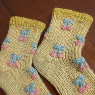 超保暖 手織 厚毛線襪 櫻桃 韓國小店帶回