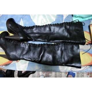 轉賣 韓版 性感 日系前綁帶馬甲質感皮木質底高跟修腿顯瘦過膝靴常靴 38號 MJR/OSHARE