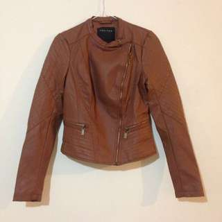 Brown Leather Jacket By Therapy. Size S