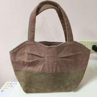 💕售💕日本購回毛料材質拼接手提袋