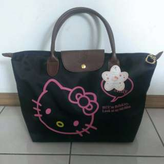 粉HollekittyLongchamp包金釦手提斜背側背黑色款防水購物袋 環保袋
