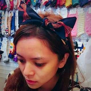 韓國深藍色蝴蝶結造型髮圈