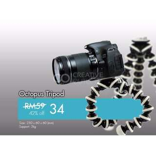 Octopus Tripod, flexi tripod, flexible mini tripod for flexible mounting shooting