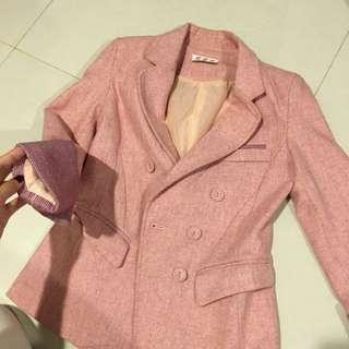 修身粉色西裝外套~