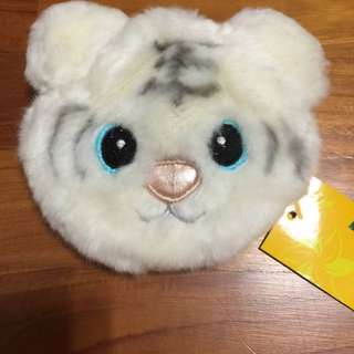 White Tiger Furry Coin Pouch Case