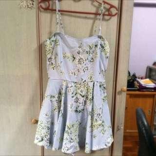 Sky Blue Floral Skirt Romper
