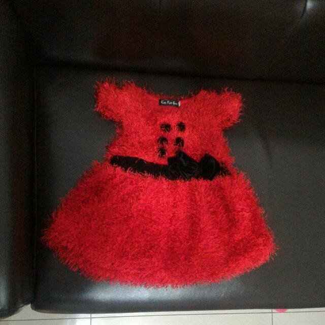 大紅色小洋裝9.5新