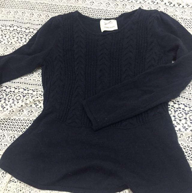 藍黑小裙擺毛線針織衫