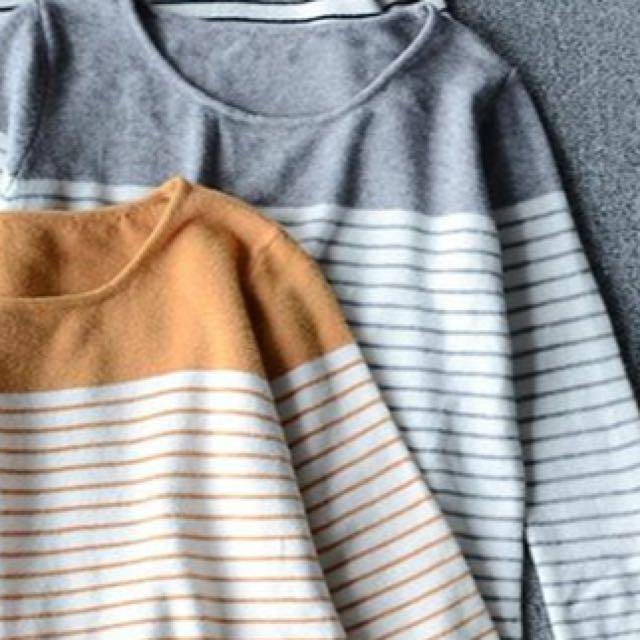 灰色條紋上衣(全新)