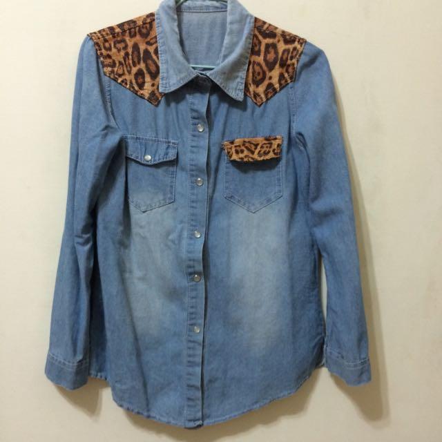 豹紋牛仔襯衫