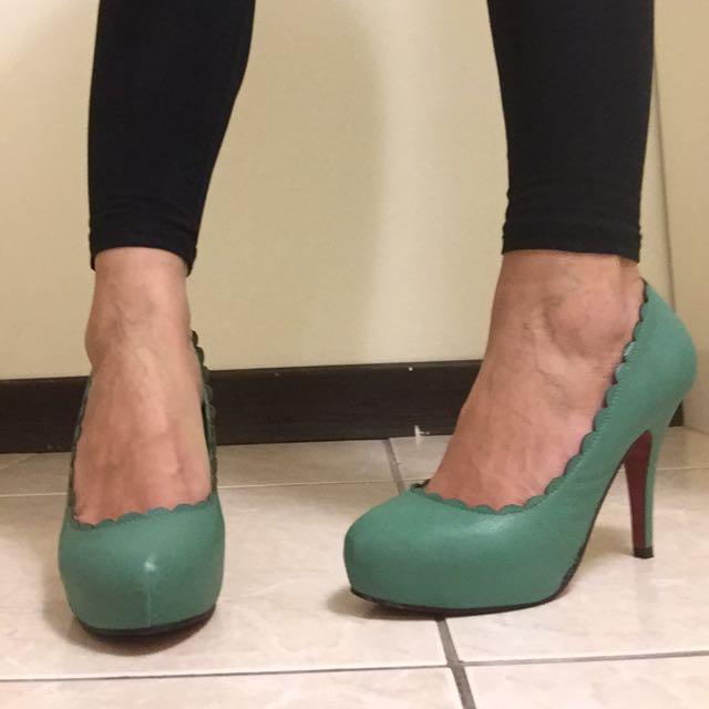 復古高跟鞋 綠色