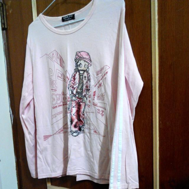 粉紅少女薄長袖上衣