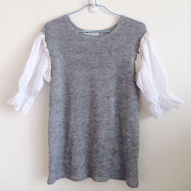 灰色袖口鬆緊雕花 針織上衣