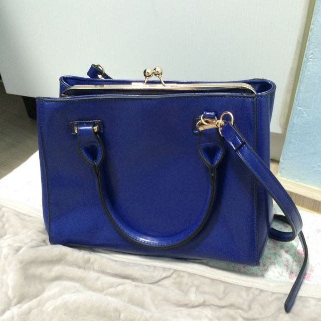 寶藍 藍 手提包 可肩背 兩用包
