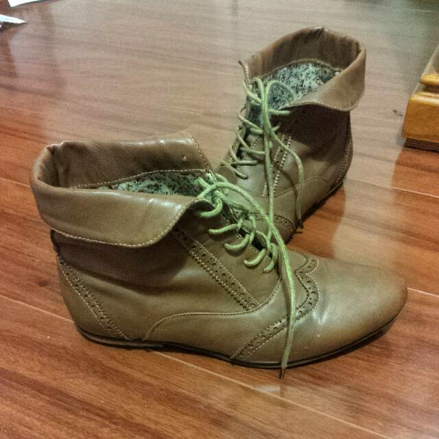 Brown Flat Ankle Boots