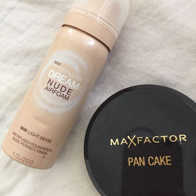 Maybelline Dream Nude Airfoam Foundation & MaxFactor Pancake Pressed