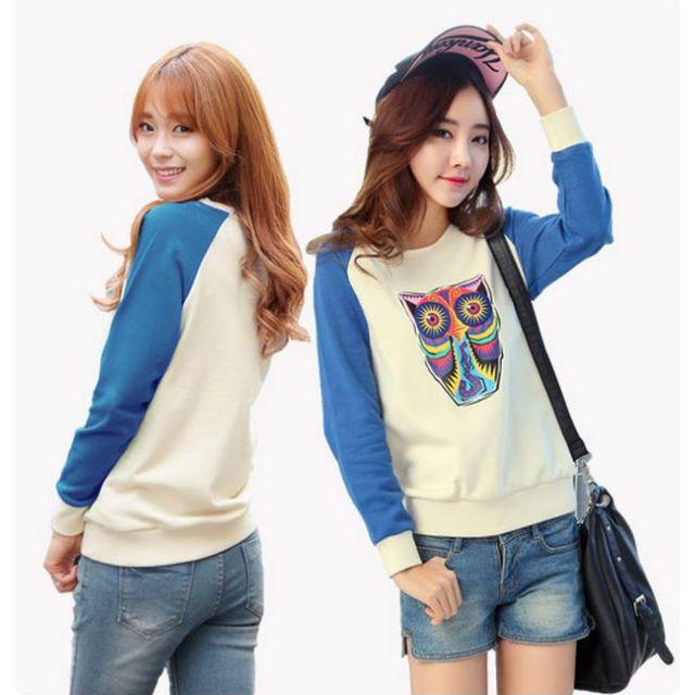 【OrangeShop】韓系女孩貓頭鷹彩色印花拼接上衣 長袖上衣 印花上衣 棉質上衣 預購