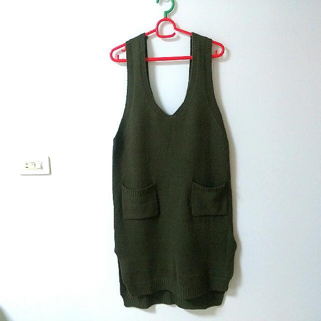 URES歐美大U領雙口袋長版針織背心洋(綠)