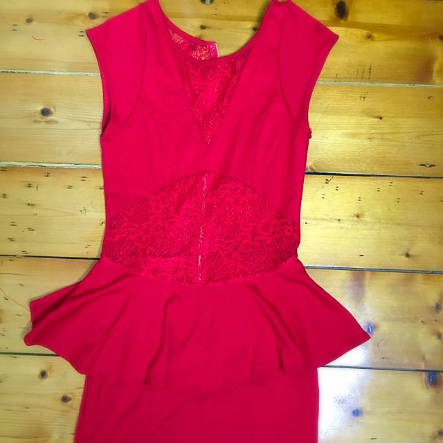 Wild Orchid Sexy Red Lace Cutout Bodycon Party Dress