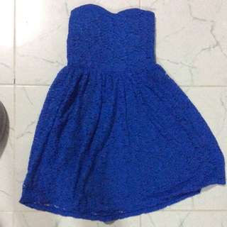 Blue Crochet Bustier Dress