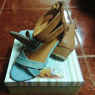 Amai 交叉線條粉嫩涼感小坡跟 涼鞋 (原價$1380)
