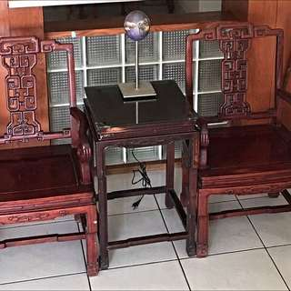 2 Rosewood Chairs Plus 1 Coffee Table 25 Years Old, Condition Is Good.