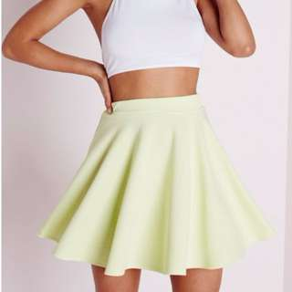 Misguided Yellow Green Skirt Size S