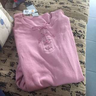 💪大尺碼休閒粉色棉衣👚