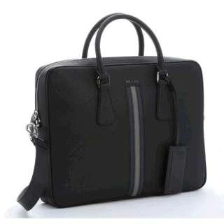 Prada Black Saffiano Leather Striped Briefcase (New)