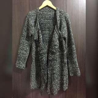 麻灰色粗針織長版外套💁