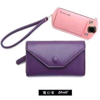 【全新】Shine away馬卡龍真皮多功能相機皮套-魔幻紫