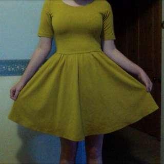 Mustard I.D.S Skater Dress, Size 8