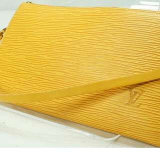 Pre-owned Louis Vuitton Epi Accessories Pouch Yellow Wristlet …