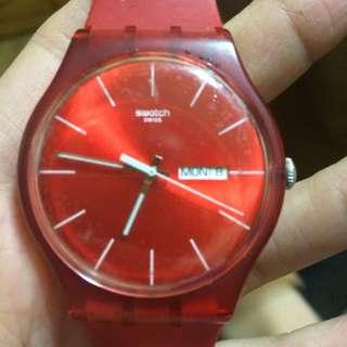 Swatch Swiss 紅 錶 紅錶